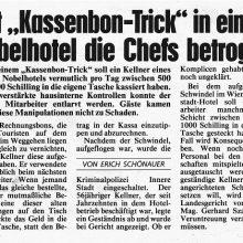 """Mit """"Kassenbon-Trick'"""" in einem Nobelhotel die Chefs betrogen"""