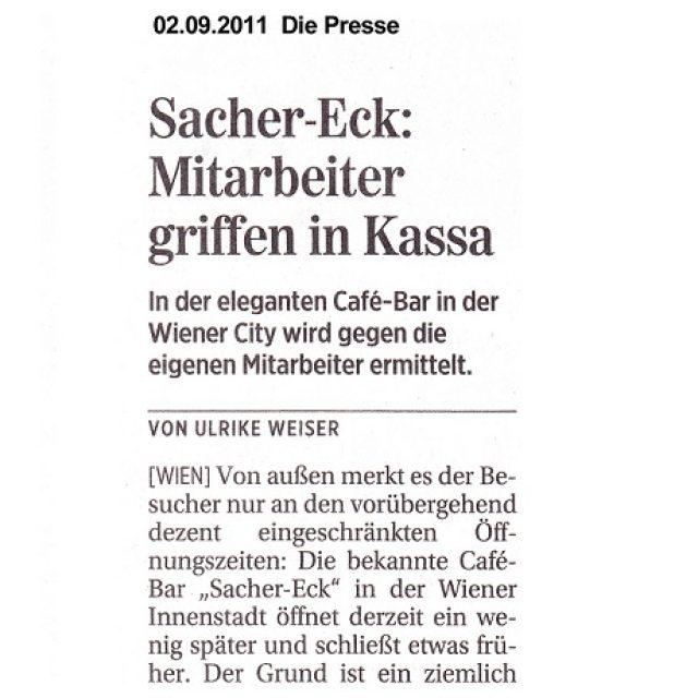 Sacher-Eck: Mitarbeiter griffen in Kassa